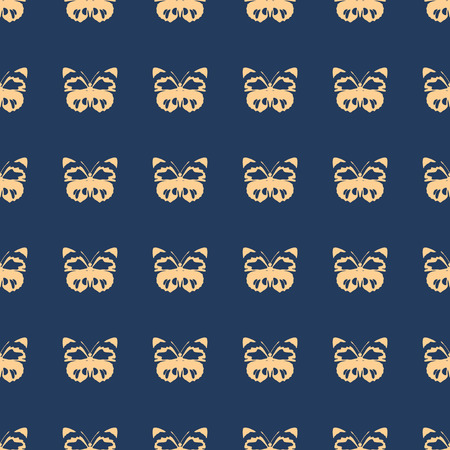 Butterfly vector illustration on a seamless pattern background