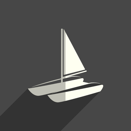 Sea transport flat icons with shadow. Vector illustration Ilustrace