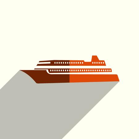 Sea transport flat icons with shadow. Vector illustration Illustration