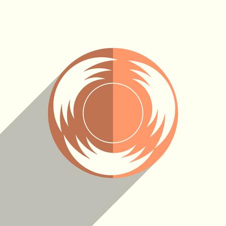 太陽はフラット影のアイコンです。ベクトル図