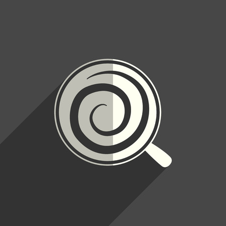 Coffee flat icons with of shadow. Vector illustration
