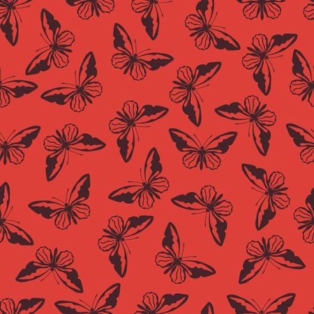 Butterfly vector illustration on a seamless pattern background Фото со стока - 87345691