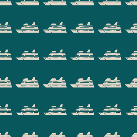 Sea transport vector illustration on a seamless pattern background. Set of elements