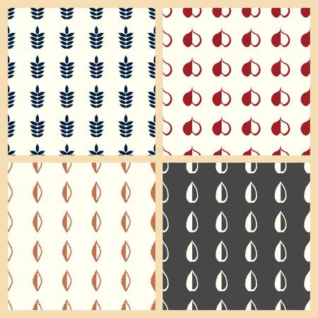 Bladeren vectorillustratie op een naadloze patroonachtergrond.