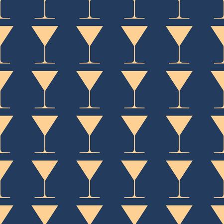 Wineglasses vector illustration on a seamless pattern background. Set of elements Illustration