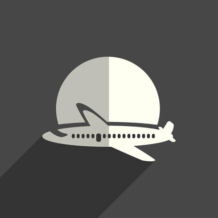 Sun with airplane flat icons with of shadow. Vector illustration