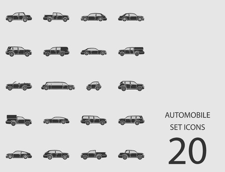 Auto set van plat pictogrammen. Vector illustratie