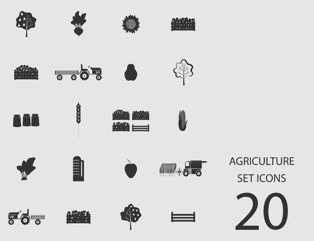 Agriculture set of flat icons. Vector illustration