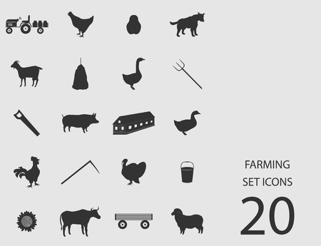 Farming set of flat icons. Vector illustration