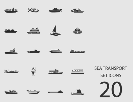 Sea transport set of flat icons Vector illustration