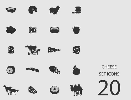 Cheese set of flat icons. Simple vector illustration