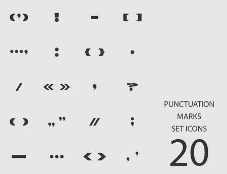 Punctuation marks set of flat icons. Vector illustration