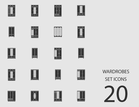 Wardrobes set of flat icons. Vector illustration  イラスト・ベクター素材