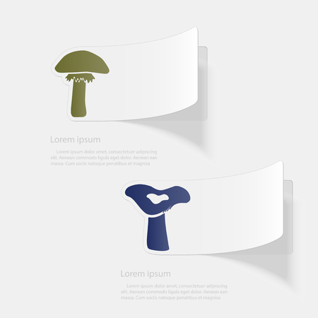 Mushrooms. Flat sticker with shadow on white background