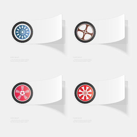 Car wheel. Flat sticker with shadow on white background
