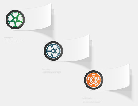 Car wheel. Flat sticker with shadow on white background Imagens - 95078443