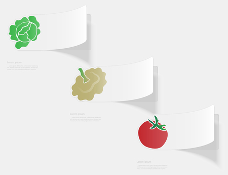 Vegetables. Flat sticker with shadow on white background. Vector illustration Illustration