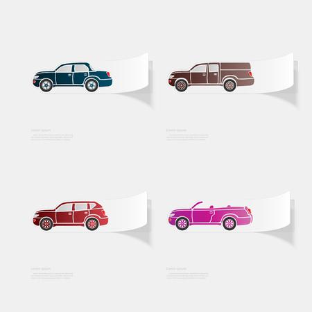 Automóvil. Etiqueta plana con sombra sobre fondo blanco. Ilustración de vector
