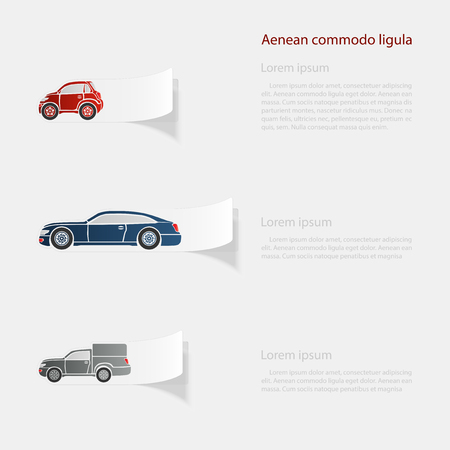 Automobile. Flat sticker with shadow on white background Illustration