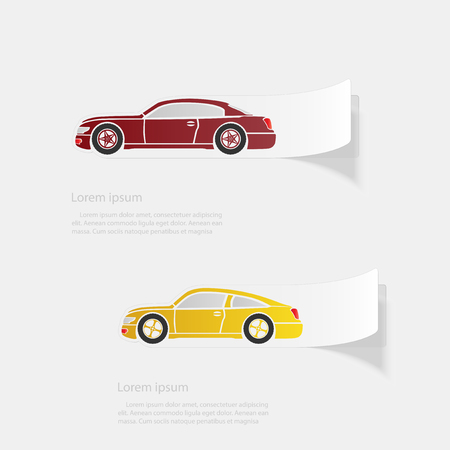 Automobile. Flat sticker with shadow on white background Vettoriali
