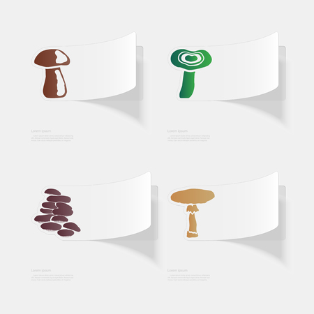 Mushrooms. Flat sticker with shadow on white background.