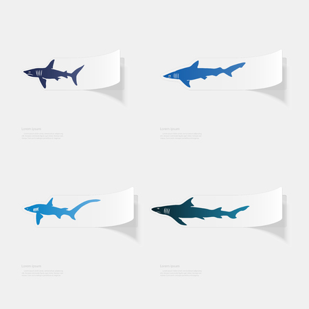 Shark, flat sticker with shadow on white background.