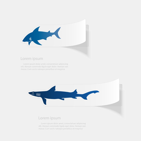 Shark  Flat sticker with shadow on white background Vector illustration. Illustration