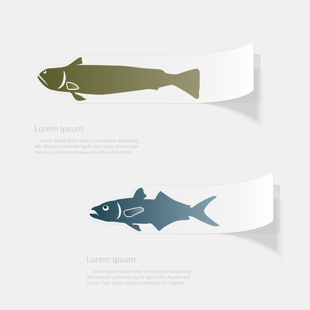 Fish the seas and oceans. Flat sticker with shadow on white background