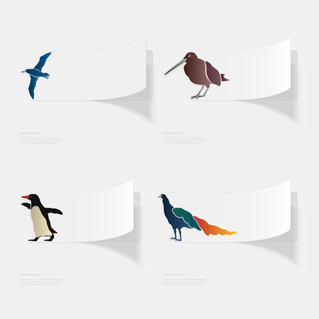 Birds. Flat sticker with shadow on white background Stock Vector - 95981338