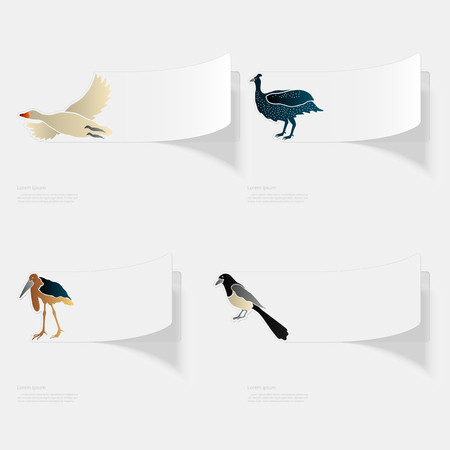 Birds. Flat sticker with shadow on white background
