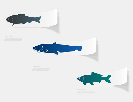Freshwater fish. Flat sticker with shadow on white background  イラスト・ベクター素材