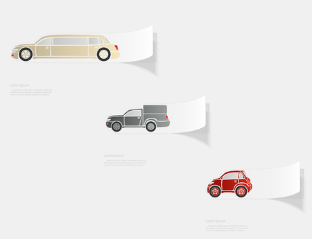 Automobile. Flat sticker with shadow on white background. Vector illustration. Illustration
