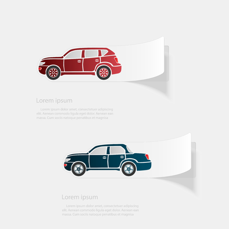 Automobile. Flat sticker with shadow on white background.