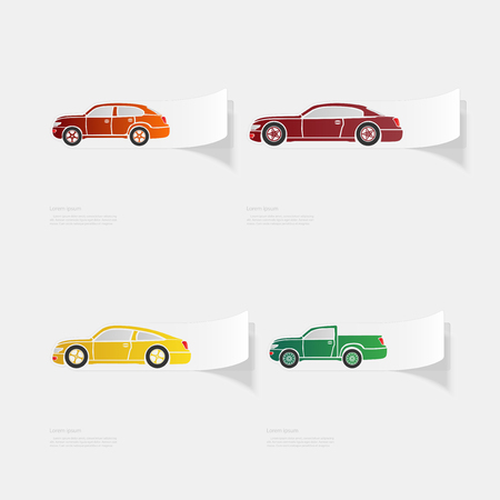 Automobile. Flat sticker with shadow on white background. Vector illustration Illusztráció