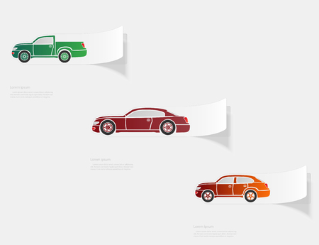 Automobile. Flat sticker with shadow on white background. Vector illustration Illustration