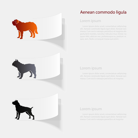 Dogs flat sticker with shadow on white background.