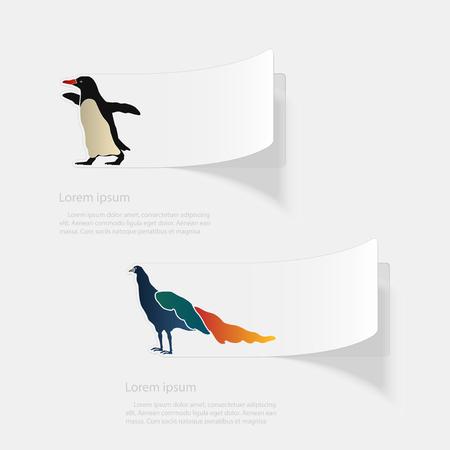 Birds. Flat sticker with shadow on white background.