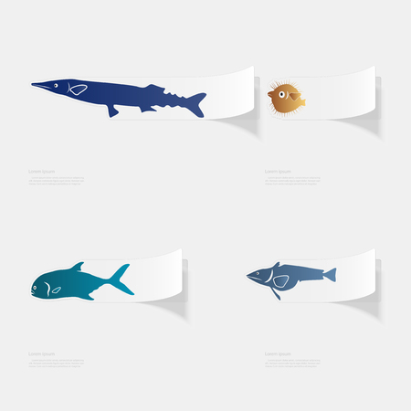Fish the seas and oceans flat sticker with shadow on white background.