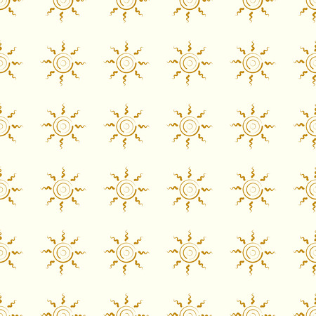 Sun vector illustration on a seamless pattern background.