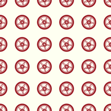 Car wheel vector illustration on a seamless pattern background.