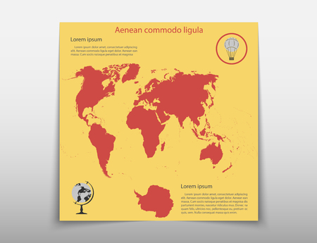 Leaflet cover presentation abstract map geographic business infographics, technology annual report brochure flyer design template vector Illusztráció