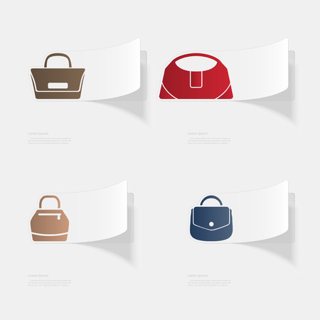 Handbags. Flat sticker with shadow on white background