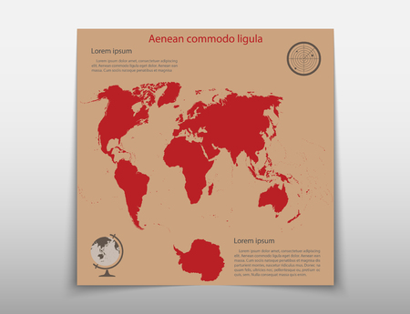 Leaflet cover presentation abstract map geographic business infographics, technology annual report brochure design template vector Illustration