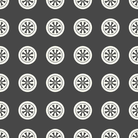 Car wheel vector illustration on a seamless pattern background Imagens - 97551525