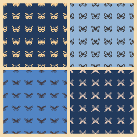 Butterfly vector illustration on a seamless pattern background. Иллюстрация