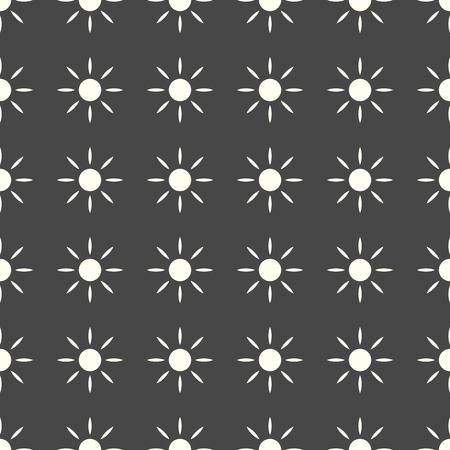 Sun vector illustration on a seamless pattern background.