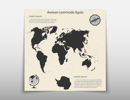 Map geographic business infographics leaflet cover presentation abstract, technology annual report brochure flyer design template vector Vectores