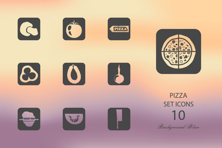 Pizza Set of flat icons on blurred background