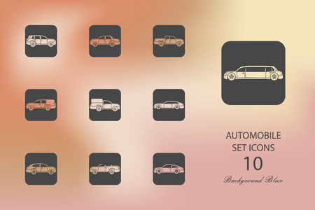 Automobile. Set of flat icons on blurred background Stock Illustratie