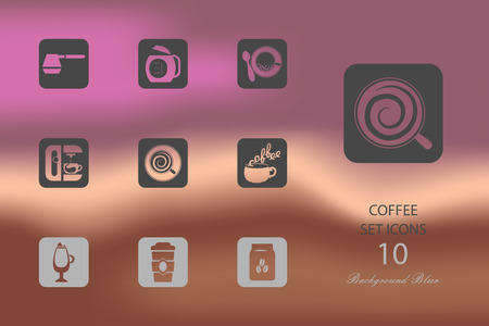 Coffee shop elemets. Set of flat icons on blurred background Иллюстрация